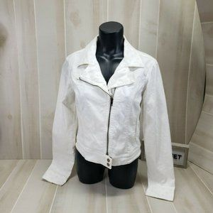 LC Lauren Conrad White Denim Moto Jacket Medium
